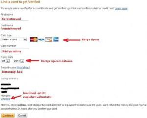 Paypal regisztráció